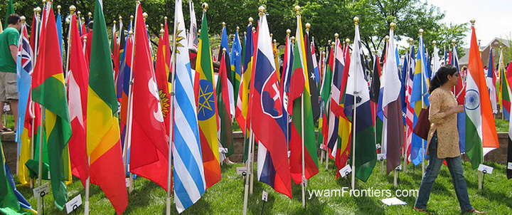 Photo of flags of the world at a university event