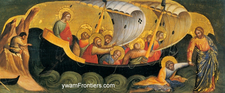 Detail of Lorenzo Veneziano painting of Jesus calling Peter out of the boat