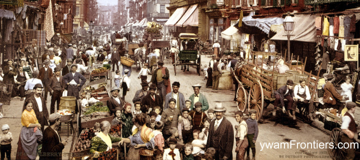 Vintage photo of immigrants in America